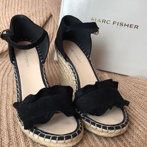 Marc Fisher: Black Suede wedge sandals